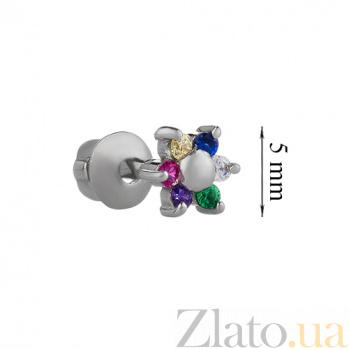 Серебряная серьга-пуссета с цветными фианитами Цветочек 3008.2