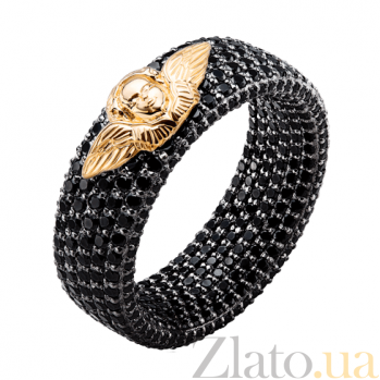 Эксклюзивное обручальное кольцо с чёрными бриллиантами Ангельская красота 000026503