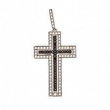 Декоративный крестик с белым и чёрным цирконием Итальянский