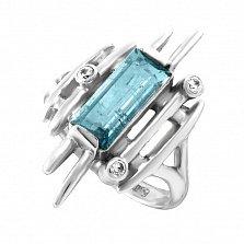 Серебряное кольцо Ксена с аквамарином и фианитами