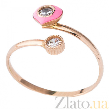 Золотое кольцо с фианитами и цветной эмалью Феличе ONX--к03682