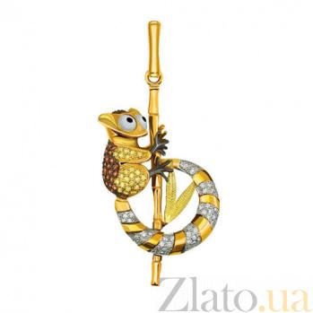 Кулон из желтого золота с фианитами Лемур VLT--ТТ3408-1