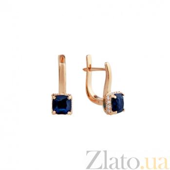 Серьги из красного золота Айла с синим агатом и фианитами 000064872