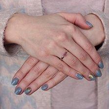 Золотое кольцо Зита с рубином и бриллиантами