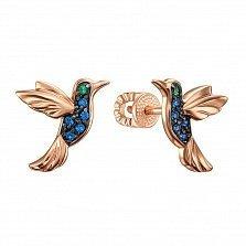 Золотые серьги-пуссеты Колибри с разноцветными фианитами