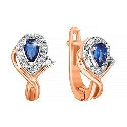 Серебряные серьги с позолотой, синими и белыми фианитами  000047479