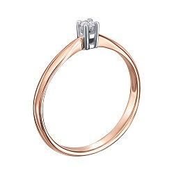Золотое помолвочное кольцо в комбинированном цвете с бриллиантом 000104395