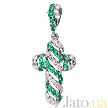 Крестик из белого золота с изумрудами и бриллиантами Алексис 000030265