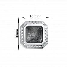 Серебряные запонки Альвин с эмалью и  фианитами