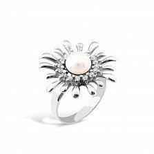 Серебряное кольцо Саломея с жемчугом и фианитами