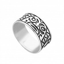 Серебряное черненое кольцо Ацтекское с узорами на шинке