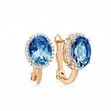 Золотые серьги Сусанна с синими топазами и белыми фианитами