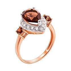 Золотое кольцо в комбинированном цвете с раухтопазами и цирконием 000139297