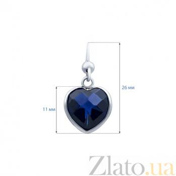 Серебряные серьги с синими цирконами Зарема AQA--220550067/10S