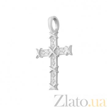 Декоративный крестик Родиана в белом золоте с бриллиантами 000098492