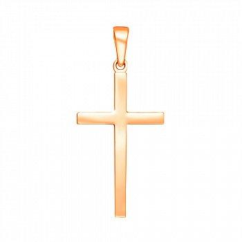 Крестик Строгий стиль в красном золоте 000053587