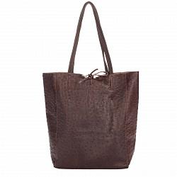 Кожаная сумка на каждый день Genuine Leather 7803 темно-коричневого цвета на завязках