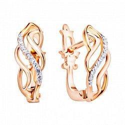 Золотые серьги в комбинированном цвете с бриллиантами 000113499