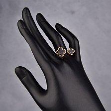 Золотое разомкнутое кольцо Два клевера с черным агатом в стиле Ван Клиф