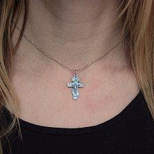Классический серебряный православный крест Высшее благо с чернением