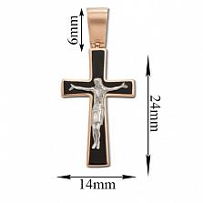Золотой крестик с эмалью Защита