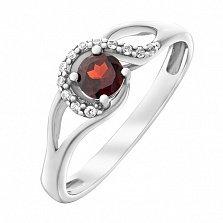 Серебряное кольцо Волшебная петля с гранатом и фианитами