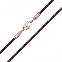 Шнурок из натуральной кожи в коричневом цвете с золотыми узорными креплениями и замком 000129009