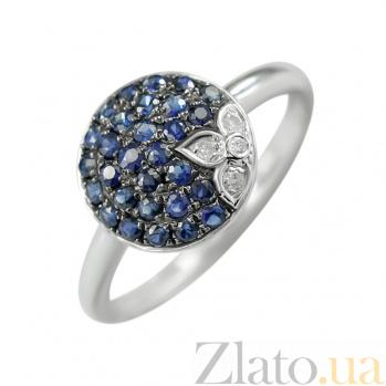 Золотое кольцо с сапфирами и бриллиантами Морской цвет 000026889