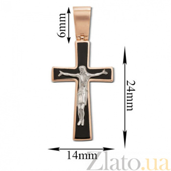 Золотой крестик с эмалью Защита 3580