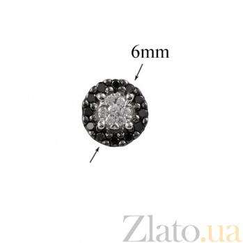 Золотые серьги-пуссеты с черными бриллиантами Полночь 000026664