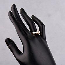 Золотое кольцо в красном цвете Предложение любви с фианитами