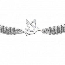 Детский плетеный браслет с серебряной вставкой Птичка- невеличка 10-10 см