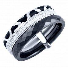 Тройное кольцо из серебра и черной керамики Магнетизм с фианитами