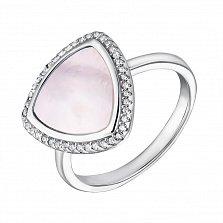Серебряное кольцо с перламутром и фианитами 000127326