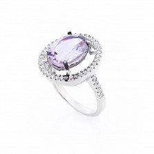 Серебряное кольцо Тильда с аметистом и фианитами
