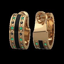 Золотые серьги Сказка с изумрудами, бриллиантами и эмалью