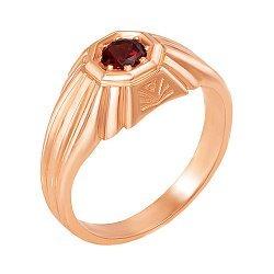 Перстень-печатка из красного золота с гранатом 000134665