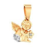 Подвеска из жёлтого золота Ангелочек с фианитами