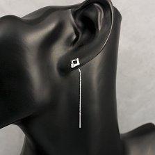 Серебряные серьги-подвески Мини-квадраты с белыми фианитами и цепочками