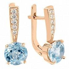 Золотые серьги с голубым топазом и фианитами Беатриса
