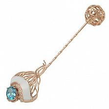 Золотая брошь Ванда с топазом, фианитами и эмалью