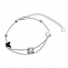 Серебряный браслет Аллер с белым перламутром, черным ониксом, бабочкой и цветочком в стиле Ван Клиф