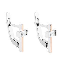 Серебряные серьги стиля с золотыми накладками и цирконием  000118905