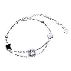 Серебряный браслет с белым перламутром, черным ониксом, бабочкой и цветочком 000114944