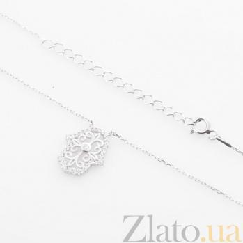 Серебряное колье Ладошка Фатимы с цирконием 000080289