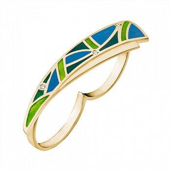 Кольцо на два пальца в желтом золоте с бриллиантами и эмалью 000073424