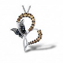 Кулон из белого золота Тина с цитрином и бриллиантами