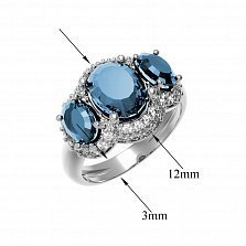 Серебряное кольцо Аврора с голубым топазом Sky Blue и фианитами