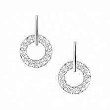 Серебряные серьги Сияющий круг с белым цирконием