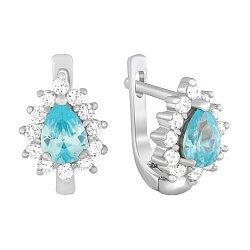 Серебряные серьги с голубыми и белыми фианитами 000029078